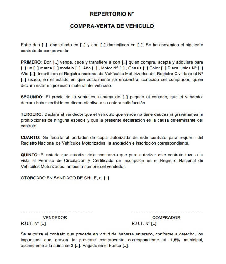 Contrato de Compraventa de Vehículos Usados en Chile