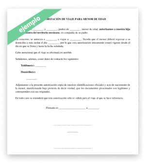 Modelo ejemplo Autorización para salida del país con hijo(s)