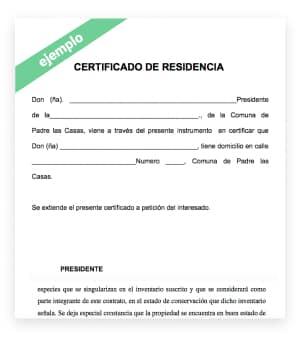 ejemplo certificado de residencia online