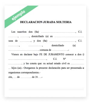 modelo carta declaración jurada de solteria