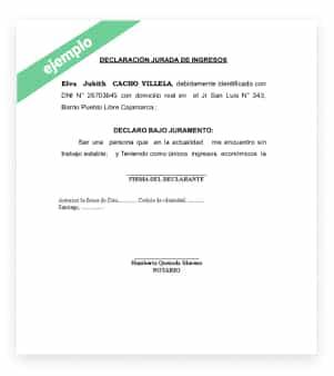 declaracion jurada de ingreso